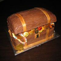 Treasure Chest ok, so here's my version of the treasure chest cake. thanks to everyone on this site for their ideas - there's too many to list...