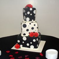 Polka Dot Cake  this is a tall cake! You can't tell so much in the pic but each tier is 8 inches tall. It's very hard to cover tall cakes in...