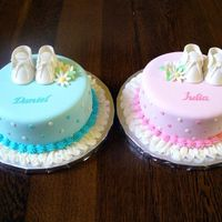 Matching Baby Cakes   For two moms sharing a baby shower. One is having a boy and the other a girl.
