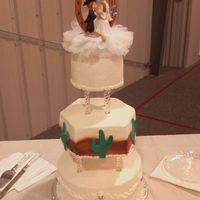 "Western Themed Wedding Cake tiered cake American BC Gumpaste Cacti 10"" 8"" 6""Hand carved the Hexagon."
