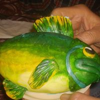 Blue Gill   I made this fish for my Dad's birthday. He got to have the little fish all to himself and we ate the rest of the cake.