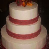 "Fall Wedding Cake With Gumpaste Daisies I made this wedding cake for a wedding for about 300. They had a 10"" grooms cake and also two fullsheet service cakes along with this..."