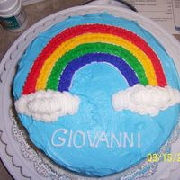 My First Cake From Course 1   Rainbow cake made in course 1!! I really was so proud =)