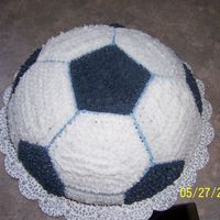 Soccer Ball Cake My 2 yr old LOVES soccer so I made him a soccer ball he could eat!