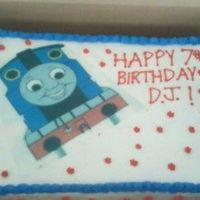 Thomas The Train Birthday Cake   One of my first cakes using edible image! Pound cake with decorator's icing.