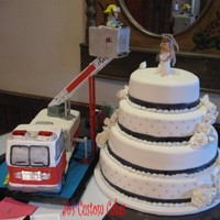 Wedding Cake And Fire Truck The wedding cake was easy compared to the fire truck from hell. The bride and groom are gumpaste. She wanted the firetruck with the ladder...
