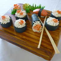 Sushi Anyone?   Groom's Cake. Red Velvet with Cream Cheese Filing.