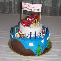 "Lightning Mcqueen Cake 10"" and 6"" Iced and decorated in BC. Made it for my nephew's B-day!"