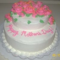 "Ouda's Mother's Day Cake 10"" and 6"" Iced and decorated in BCD. I made this for my stepmother for Mother's Day."