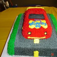 Wiggles Car cake i did for my friend's little boy's 2nd bday. it was pretty time consuming, but i was happy with the results. adding the road...
