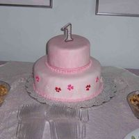 Eleanor's First Birthday Cake White cake Cream Filling covered in pink marbled MMF and candy accent
