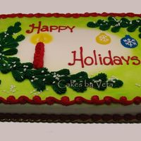 Winter Lights 1/2 cake with simple Chrismas design (takes but 5 min to decorate whole cake)