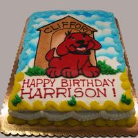Clifford, The Big Red...puppy  1/2 sheet cake for 1st birthday (hald chocolate, half vanilla). All buttercream decorations. Background is airbrushed, drawing is freehand...