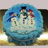 "Happy Trio   8"" cake decorated in BC and airbrushed blue"