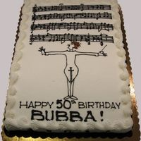 "Birthday In C-Minor 1/2 sheet cakes total (half chocolate, half white). The recipient was ""tall, thin, plays and conducts music"". Here's the..."