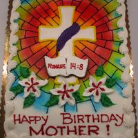 Easter - Religious Birthday   1/2 cheet white cake. All buttercream, airbrushed background, freehand drawing.