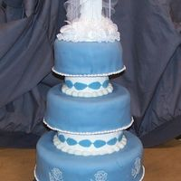 "Wedgewood Inspiration This si a cake I did for a wedding demoat Michaels. It's a 10"", 8"" and 6"" with seprations all stacked together. The..."