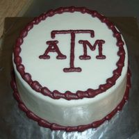 "Texas A&m Mini Cake simple 6"" white cake, iced in BC"