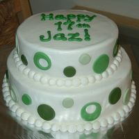 "Green Dots simple 10"" & 8"" yellow cake tiers....iced in BC & MMF dots"