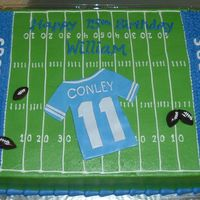 "Football Field 11X15"" white cake, iced in BC....MMF letters, jersey & footballs"
