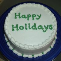 "Simple Holiday 8"" white cake, iced in BC"