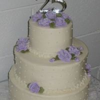 "25Th Anniversary Cake This is a stacked 12, 10 and 6 inch layer butter cake with cream cheese icing. It's my first ""wedding"" cake which was made..."