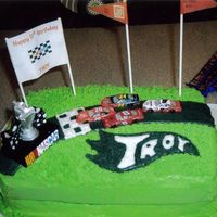 Race Car Birthday Cake  This cake is 2 9x13 butter flavored cakes with buttercream icing. It's for a co-worker's son who loves nascar and wanted his...