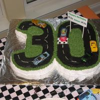 30Th Birthday Nascar Style hannahmc2005 originally made this cake and I thought it would be great for a friend's surprise birthday party. It's 2 13x9 yellow...