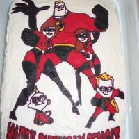 Incredibles Birthday Cake  This is my first FBCT. The red is bleeding and the eyes are all awful, but I think it turned out ok. I probably should have tried a smaller...