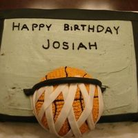 Nephews Basketball Theme Cake For 2Nd Birthday chocolate cake with buttercream icing. the net and backboard frame was made using fondant. i was in the middle of a move and didn't...