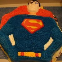 Vintage Superman Cake strawberry cake with buttercream icing using the old superman wilton cake mold. i made this for my boyfriend who loves superman memorabilia...