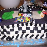 Nascar All buttercream, white cake and strawberry filling. My nephew loved it. I uszed a basketweave tip to properly measure for the checkerboard...