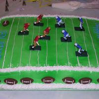 Football Birthday For my sons birthday, white cake with bavarian cream filling. He didnt ask for much, was pretty simple. I used the wilton spray color to...