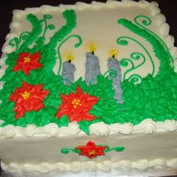 Poinsetta Candle Birthday Cake   Winter Birthday