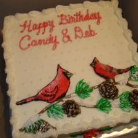 Winter Birthday Cardinal Cake