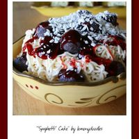 Spaghetti Cake Many thanks to nanahaley & missrosebush for all their help & quick answers. Chocolate donut holes for the meatballs, strawberry...