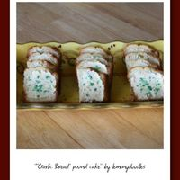 Garlic Bread Pound Cake Many thanks to nanahaley & missrosebush for all their help....pound cake topped w/ cheesecake flavored buttercream & grated green...