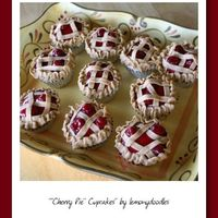 Cherry Pie Cupcakes Cheesecake flavored buttercream w/ cherry pie filling on top of a butter cupcake....