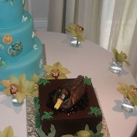 Duck Cake This cake was made for a groom who likes to hunt. The duct is mainly covered in chocolate fondant icing and hand sculpted and painted in...