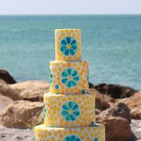 Tile Work Wedding Cake This cake was done for a special request of a blue, yellow, and white color palette. I loved working on this cake because it resembles tile...