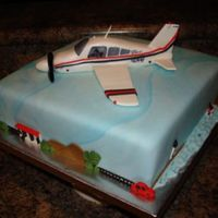 Exact Replica Of A 1977 Piper Archer Plane 3D cake with plane flying over the beach, the city, the farm and Alaska. each side has a different theme. The beach has a lighthouse, a...