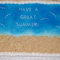 Beach Sheet Cake   Cake for the end of the year party at work. All done in B/C except for the NIlla Wafer sand.
