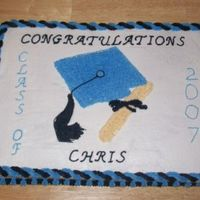 Graduation Sheet Cake   All done in B/C. Done to match the school colors.