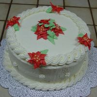 Christmas Cake Red Velvet cake with crusting cream cheese icing (recipe from this site).