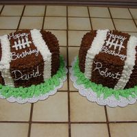 Football Birthday These cakes were for my two nephew's birthdays. This is my first attempt at a star decorated cake. I used the two oval pans from the...