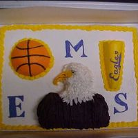 Kmcguire - Basketball Cake cake made for 8th grade basketball team at Eldorado Illinois Middle School. White cake with buttercream frosting