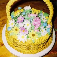 Easter Basket Italian Cream Cake, Cream Cheese basketweave frosting gum paste flowers, Royal Icing handle
