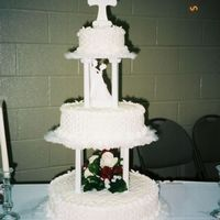 Our Wedding Cake white cake with basketweave buttercream