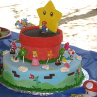 Mario Birthday Fondant accents, but figures are plastic collectibles (the birthday girl's request.) As always, greatly inspired by the Mario cakes on...