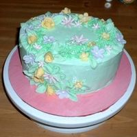 Spring Flowers This is a cake that I made for Easter. It is strawberry cake with buttercream icing and MMF flower accents. This is my first time using MMF...